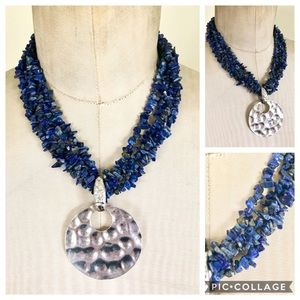 Lapis Stone Sterling Silver Necklace 925 Statement